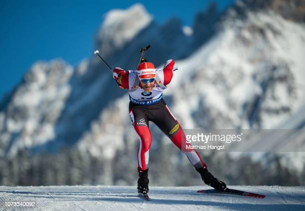 Simon Eder of Austria competes in the IBU Biathlon World Cup Men's 10 km Sprint on December 14 2018 in Hochfilzen Austria