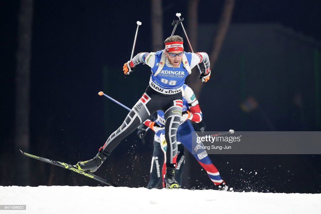 Simon Eder of Austria competes in the Men 10km Sprint during the BMW IBU World Cup Biathlon 2017 - test event for PyeongChang 2018 Winter Olympic Games at Alpensia Biathlon Centre on March 3, 2017 in Pyeongchang-gun, South Korea.