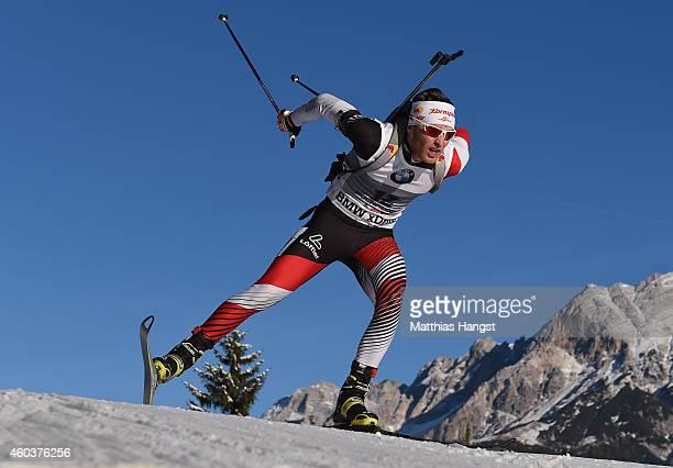 Simon Eder of Austria competes in the men's 10 km sprint event during the IBU Biathlon World Cup on December 12 2014 in Hochfilzen Austria