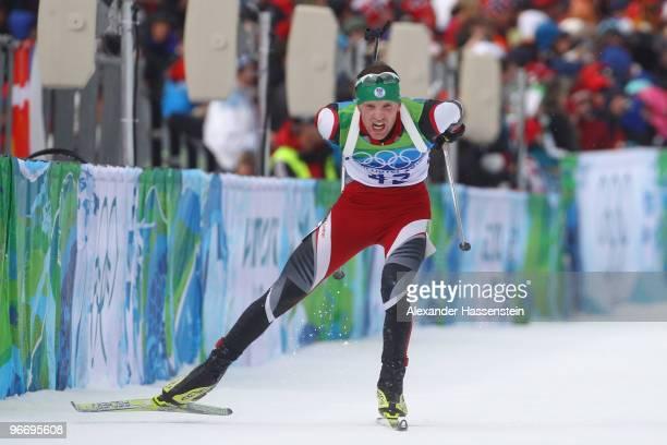 Simon Eder of Austria competes in the men's biathlon 10 km sprint final on day 3 of the 2010 Winter Olympics at Whistler Olympic Park Biathlon...