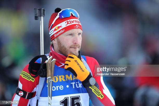 Simon Eder of Austria during the Zeroing for the IBU Biathlon World Championships Men 10km Sprint at Swedish National Biathlon Arena on March 09,...