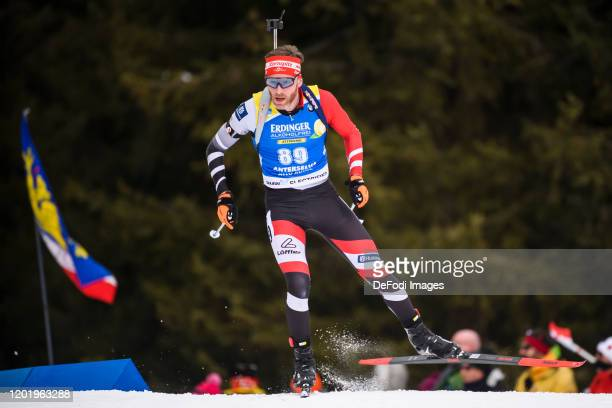 Simon Eder of Austria in action competes during the Men 20 km Individual Competition at the IBU World Championships Biathlon Antholz-Anterselva on...