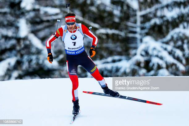 Simon Eder of Austria in action during the IBU Biathlon World Cup Men's Sprint on January 16 2019 in Ruhpolding Germany