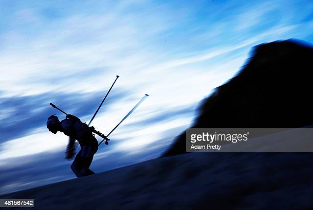 Simon Eder of Austria in action during the IBU Biathlon World Cup Men's Relay on January 15 2015 in Ruhpolding Germany