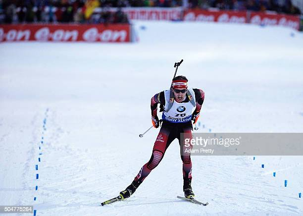 Simon Eder of Austria races for the finish line and secures second place in the mens 20km Biathlon race at the IBU Biathlon World Cup Ruhpolding on...