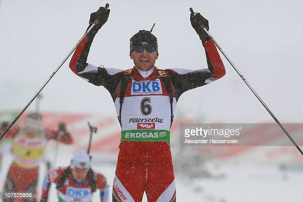 Simon Eder of Austria reacts after the mens 125 km pursuit event in the IBU Biathlon World Cup on December 11 2010 in Hochfilzen Austria