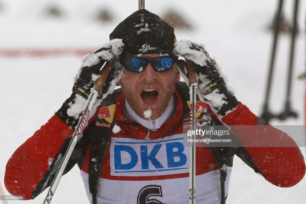 Simon Eder of Austria reacts after the mens 12,5 km pursuit event in the IBU Biathlon World Cup on December 11, 2010 in Hochfilzen, Austria.