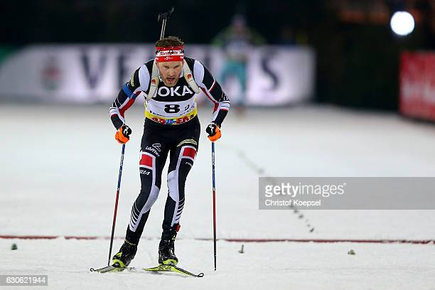 Simon Eder of Austria skates during the JOKA Biathlon World Team Challenge 2016 at VeltinsArena on December 28 2016 in Gelsenkirchen Germany