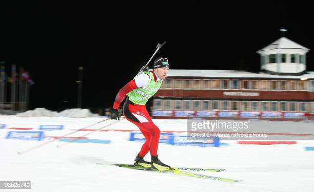 Simon Eder of Austria skis during a training session ahead of the E.ON Ruhrgas IBU Biathlon World Cup on December 1, 2009 in Ostersund, Sweden.