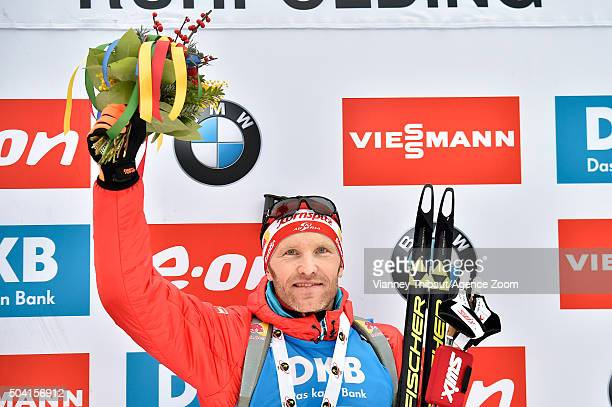 Simon Eder of Austria takes 1st place during the IBU Biathlon World Cup Men's and Women's Pursuit on January 9 2016 in Ruhpolding Germany