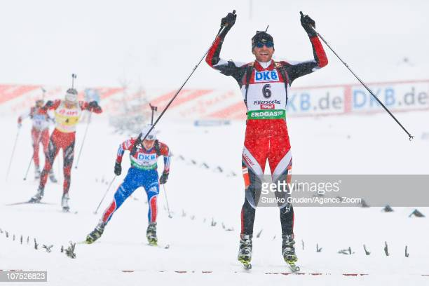 Simon Eder of Austria takes 2nd place during the IBU World Cup Biathlon men's 125 km Pursuit on December 11 2010 in Hochfilzen Austria