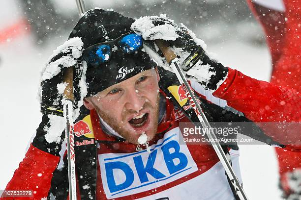 Simon Eder of Austria takes 2nd place during the IBU World Cup Biathlon MenÕs 125 km Pursuit on December 11 2010 in Hochfilzen Austria