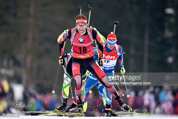 Simon Eder of Austria wins the bronze medal during the IBU Biathlon World Championships Men's 20km Individual on March 10 2016 in Oslo Norway