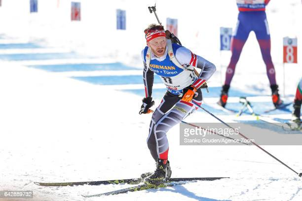 Simon Eder of Austria wins the bronze medal during the IBU Biathlon World Championships Men's and Women's Mass Start on February 19 2017 in...