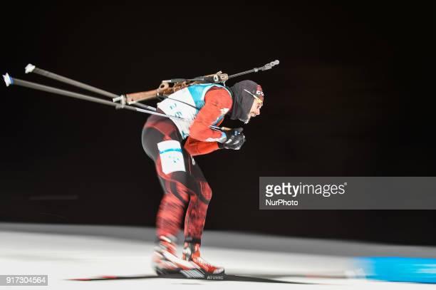 Simon Eder ofAustria at Mens 10 kilometre sprint Biathlon at olympics at Alpensia biathlon stadium Pyeongchang South Korea on February 11 2018