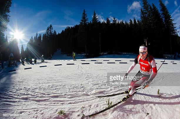 Simon Eder on the course during Biathlon World Cup 12,5km men pursuit on Pokljuka 2014.