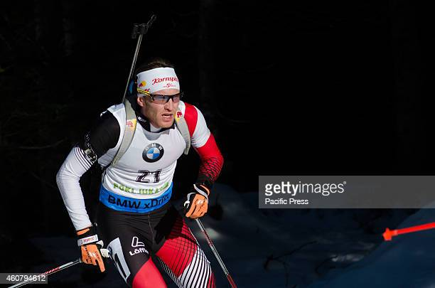 Simon Eder on the course during Biathlon World Cup 15km Mass Start Men on Pokljuka 2014.