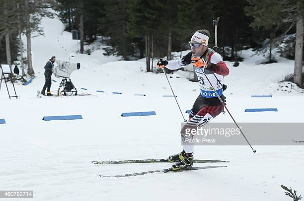 Simon Eder on the course during the IBU Biathlon World Cup 2014 race on Pokljuka