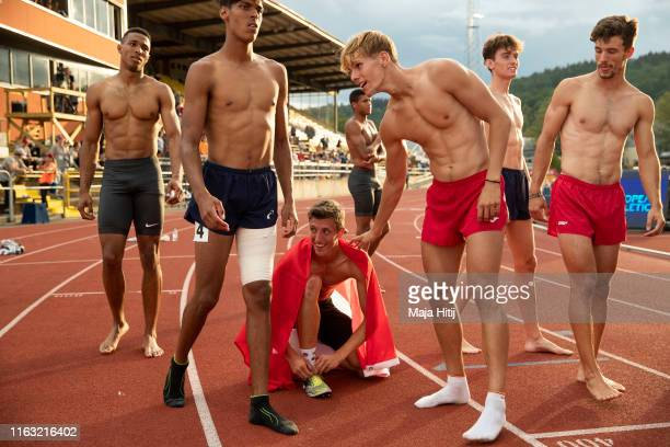 Simon Ehammer of Switzerland celebrates after winning Men Decathlon on July 20 2019 in Boras Sweden