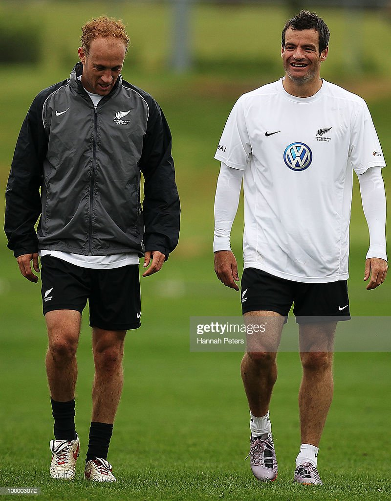 Simon Elliott walks off with Ryan Nelsen during a New Zealand All Whites training session at North Harbour Stadium on May 20, 2010 in Auckland, New Zealand.