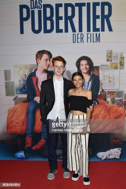 Simon Enge and Harriet HerbigMatten during the 'Das Pubertier' Premiere at Mathaeser Filmpalast on July 4 2017 in Munich Germany