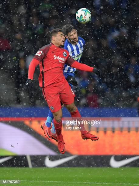 Simon Falette of Eintracht Frankfurt and Mathew Leckie of Hertha BSC during the game between Hertha BSC and the Eintracht Frankfurt on december 3...