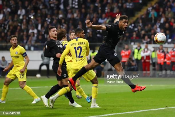 Simon Falette of Eintracht Frankfurt jumps for a header during the UEFA Europa League Semi Final First Leg match between Eintracht Frankfurt and...