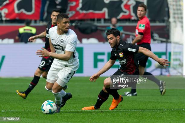 Simon Falette of Frankfurt and Kevin Volland of Leverkusen battle for the ball during the Bundesliga match between Bayer 04 Leverkusen and Eintracht...