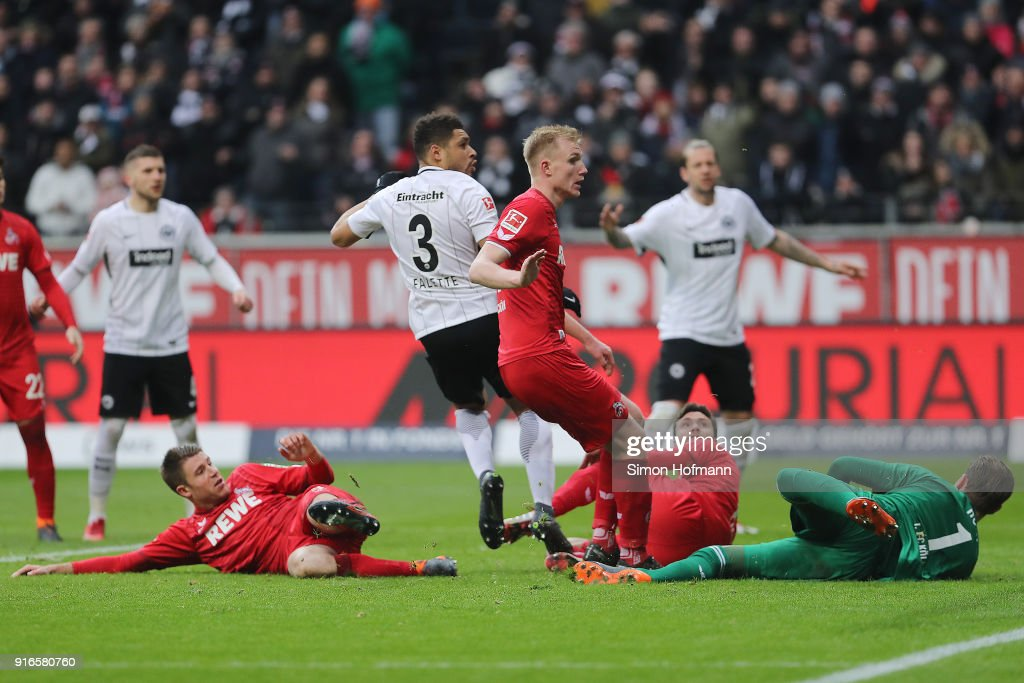 Simon Falette of Frankfurt (3) scores a goal to make it 3:1 during the Bundesliga match between Eintracht Frankfurt and 1. FC Koeln at Commerzbank-Arena on February 10, 2018 in Frankfurt am Main, Germany.