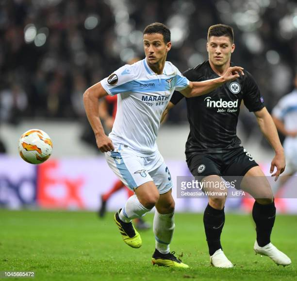 Simon Falette of Lazio and Luka Jovic of Frankfurt compete for the ball during the UEFA Europa League Group H match between Eintracht Frankfurt and...
