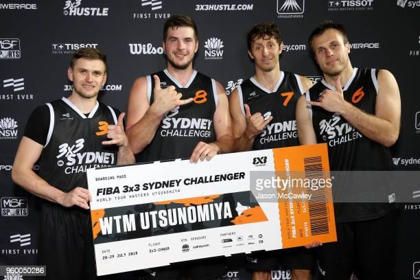 Simon Finzgar Anze Srebovt Gasper Ovnik and Adin Kavgic of Piran celebrate winning the Sydney FIBA 3x3 World Challenger event hosted by the NBL held...