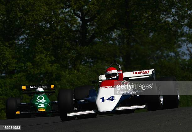 Simon Fish drives the Unipart Ensign N180 Ford cosworth V8 in the FIA Masters Historic Formula One Championship race during the Masters Historic...