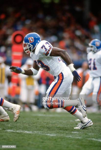 Simon Fletcher of the Denver Broncos in action against the Cleveland Browns during an NFL football game October 1 1989 at Cleveland Municipal Stadium...