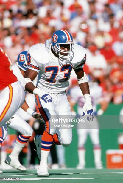 Simon Fletcher of the Denver Broncos in action against the Kansas City Chiefs during an NFL football game November 12 1989 at Arrowhead Stadium in...