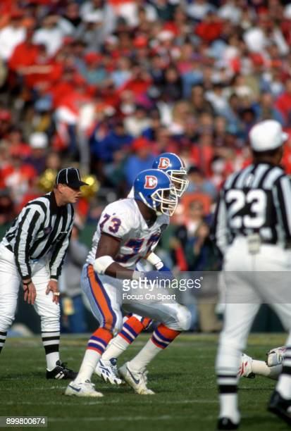 Simon Fletcher of the Denver Broncos in action against the Kansas City Chiefs during an NFL football game December 4 1994 at Arrowhead Stadium in...