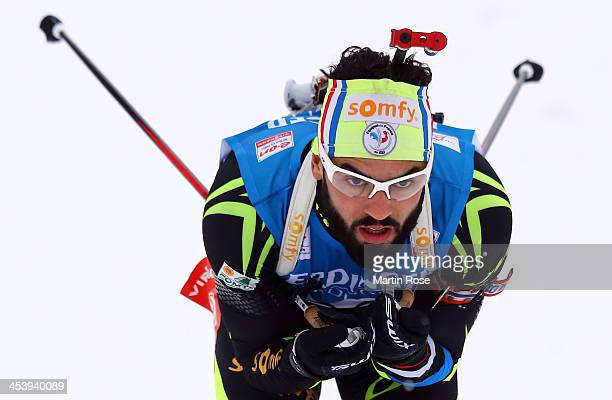 Simon Fourcade of France competes in the men's 10km sprint event during the IBU Biathlon World Cup on December 6 2013 in Hochfilzen Austria