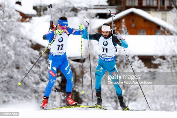 Simon Fourcade of France in action during the IBU Biathlon World Cup Men's Sprint on December 15 2017 in Le Grand Bornand France