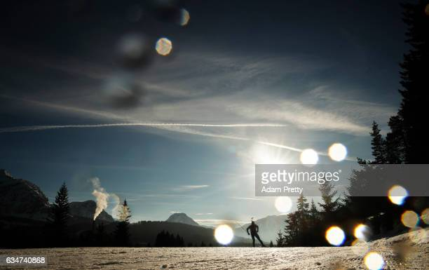 Simon Fourcade of France in action in the men's 10km sprint competition of the IBU World Championships Biathlon 2017 at the Biathlon Stadium...