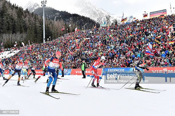 Simon Fourcade of France takes 3rd place during the IBU Biathlon World Cup Men's and Women's Relay on January 25 2015 in AntholzAnterselva Italy