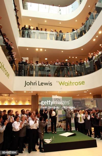 Simon Fowler MD of John Lewis Oxford Street and John Lewis partner Chloe Bye and Waitrose Partner Stephen Burrows as the John Lewis partnership...