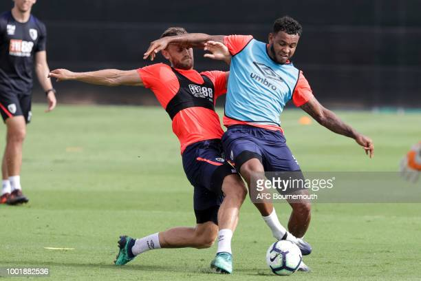 Simon Francis and Joshua King of Bournemouth during preseason training on July 19 2018 in La Manga Spain