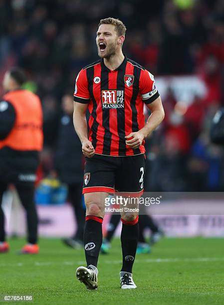 Simon Francis of AFC Bournemouth celebrates victory after the Premier League match between AFC Bournemouth and Liverpool at Vitality Stadium on...