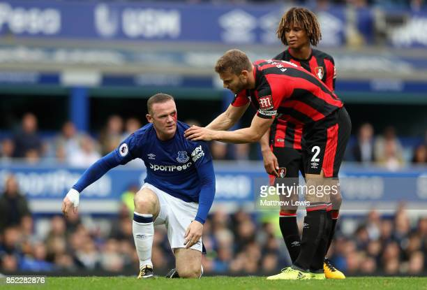 Simon Francis of AFC Bournemouth checks if Wayne Rooney of Everton is okay during the Premier League match between Everton and AFC Bournemouth at...