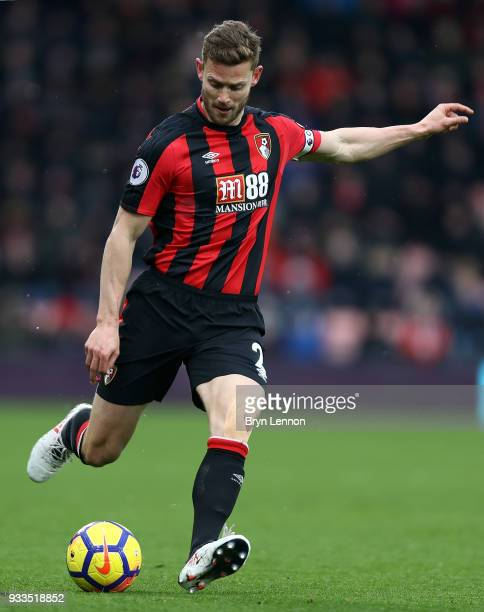 Simon Francis of AFC Bournemouth in action during the Premier League match between AFC Bournemouth and West Bromwich Albion at Vitality Stadium on...