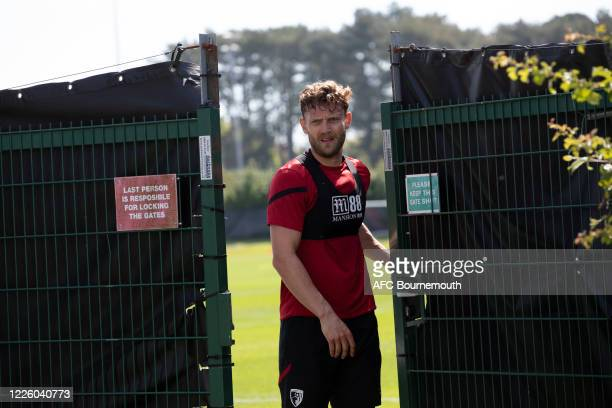 Simon Francis of AFC Bournemouth leaves following training after Covid-19 restrictions were relaxed at Vitality Stadium on May 20, 2020 in...