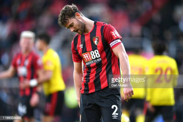 Simon Francis of AFC Bournemouth reacts during the Premier League match between AFC Bournemouth and Watford FC at Vitality Stadium on January 12 2020...