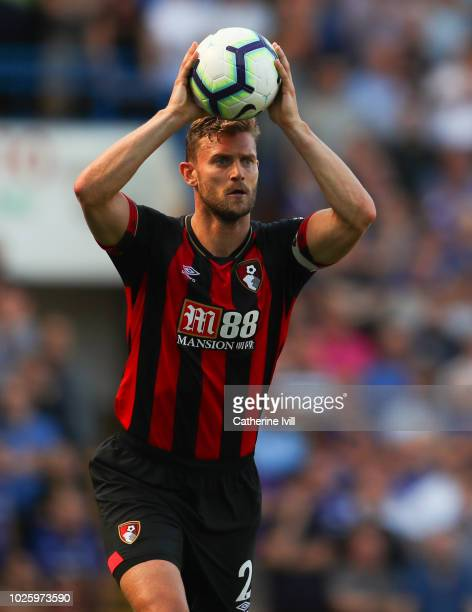 Simon Francis of AFC Bournemouth takes a throw in during the Premier League match between Chelsea FC and AFC Bournemouth at Stamford Bridge on...