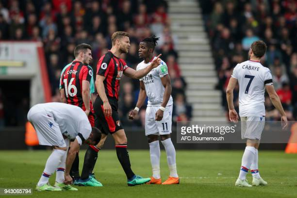 Simon Francis of Bournemouth has words with Yohan Cabaye of Crystal Palace during the Premier League match between AFC Bournemouth and Crystal Palace...