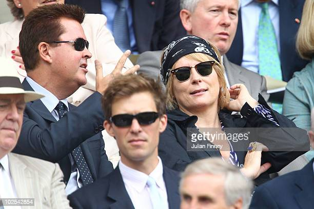 Simon Fuller and Jennifer Saunders on Day Nine of the Wimbledon Lawn Tennis Championships at the All England Lawn Tennis and Croquet Club on June 30...