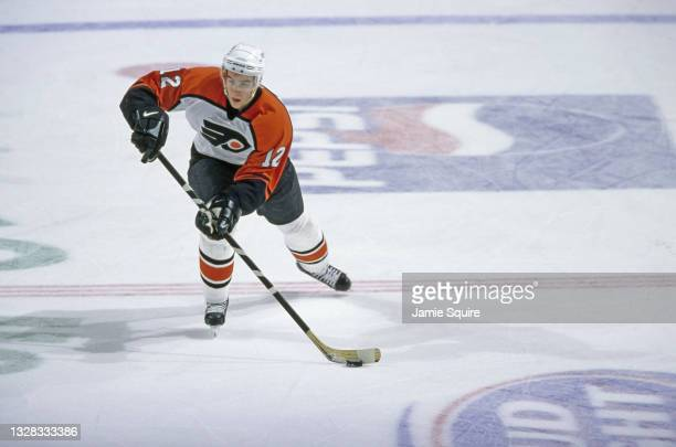 Simon Gagne, Left Wing for the Philadelphia Flyers in motion on the ice during the NHL Eastern Conference Atlantic Division game against the Edmonton...